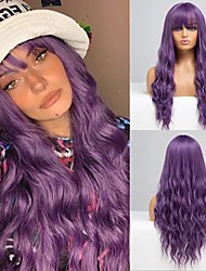 cheap -halloweencostumes long curly wavy wig with air bangs purple hair wigs for black white women heat resistant pastel synthetic wigs for cosplay daily party costume use none lace front wigs