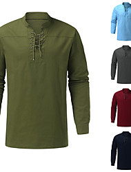 cheap -benycs men gothic retro t shirt tee lace-up v-neck cotton blended long sleeve pullover tee shirt loose tops