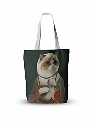 cheap -Canvas Shoulder storage bag back to school Halloween goody bag portrait cartoon animals portable grocery shopping cloth book tote
