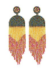 cheap -women earrings with handmade color preserving rice beads long tassel bohemian jewelry wedding accessories