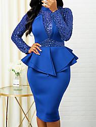 cheap -Women's Sheath Dress Knee Length Dress Blue Red Navy Blue Long Sleeve Solid Color Ruched Fall Winter Round Neck Elegant 2021 S M L XL XXL 3XL 4XL 5XL / Party Dress