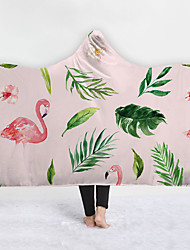 cheap -New Hooded Blanket New Products Home Blanket Children Blanket Thicker Blanket Tropical Flamingo Plant Series
