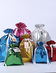 cheap -Spot Amazon Laser Film Drawstring Gift Bag Christmas Drawstring Candy Bag Gift Packaging Creative Gift Bag