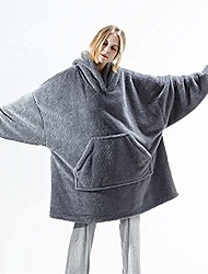 cheap -Microfiber Throw Blanket All Season For Couch Chair Sofa Bed Picnic Wearable Oversized Hoodie Sleeves Giant Pocket Solid Soft Fluffy Warm Cozy Plush Autumn Winter One Size Gray