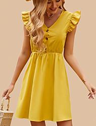 cheap -Women's Ruffle Rim Dress Solid Color Dress Mini skirt Knee Length