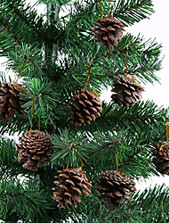 cheap -6pcs Christmas Tree Pendant Natural Primary Color Pinecone 4-5cm Christmas Products Site Decoration Decoration White Paint Pinecone