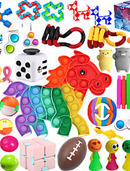 cheap -43 Pack Sensory Fidget Toys Set Bundle Stress Relief Anti-Anxiety Tools Toys for Kids Adult Children Figetget Toys Set Autistic ADHD Fidgets Box Squeeze Ball Bean Marble Mesh Wacky Track