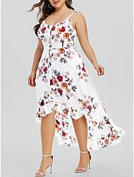 cheap -Women's Plus Size Dress Strap Dress Knee Length Dress Sleeveless Flower Ruffle Plus High Low Casual Spring Summer Blushing Pink White Black L XL XXL XXXL 4XL