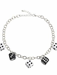 cheap -harajuku cute colorful dices beaded pendant necklave punk funny acrylic dice strand choker necklace party game hip hop jewelry for women girls gifts-c black