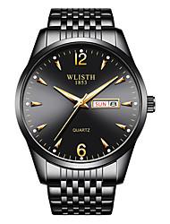 cheap -Men'S Steel Band Watch S946 Fashion Dual Calendar Luminous Week Display Waterproof Student Quartz Watch