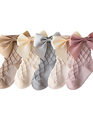 cheap -Baby Girls' Stockings One Pair Blushing Pink Grey White Solid Color Ribbon bow Cotton Daily Wear Casual Socks 6 Months+