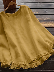 cheap -Women's Plus Size Tops Blouse Plain Ruffle Lettuce Trim Long Sleeve Crewneck Basic Casual Daily Weekend Washable Cotton Fabric Fall Spring Yellow Blushing Pink