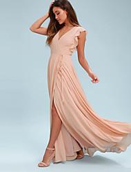 cheap -A-Line V Neck Floor Length Chiffon Bridesmaid Dress with Pleats / Ruffles / Split Front
