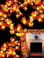 cheap -Halloween Light LED String Light Maple Leaf LED Fairy String Lights 3M-20LEDs 1.5M-10LEDs Battery or USB Operation Garland Light Christmas Party Home Garden Holiday Patio Decoration