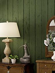 cheap -Wallpaper Wall Covering Sticker Film Green Faux Wood Sensation non Woven Home Decor  53*1000cm