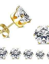 cheap -5 pairs cz stud earrings set, round clear cubic zirconia 316l stainless steel earrings for women 3-7mm