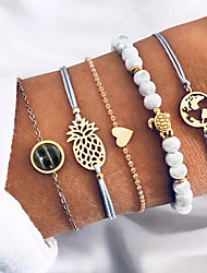 cheap -5PCS Bracelet Set Bangles Classic Maps Heart Ethnic Fashion Vintage Holiday Alloy Bracelet Jewelry Gold For Anniversary Formal Prom Date Festival