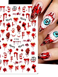 cheap -5 pcs 3D Halloween Blood Fake Scab Tattoos Nails Stickers Bloody Wound Splatter Palm Nail Art Decal Creepy Manicure Accessories