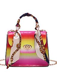 cheap -Women's Bags PU Leather Top Handle Bag Chain Fashion Shading Daily Going out Handbags Chain Bag Black / White Blue Yellow Orange