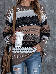 cheap -Women's Pullover Sweater Vintage Style Multi Color Geometic Ethnic Casual Long Sleeve Sweater Cardigans Round Neck Fall Winter khaki Red Brown / Holiday