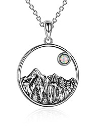 cheap -mountain necklace sterling silver created opal necklace sun pendant jewelry nature gifts for women