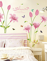 cheap -New Creative Wall Paste Wholesale Pink Lily Wall Paste Living Room Bedroom Tv Background Decoration Paste 60*90cm