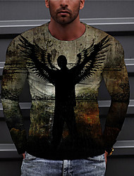 cheap -Men's Unisex Tee T shirt Shirt 3D Print Graphic Prints Wings Print Long Sleeve Daily Tops Casual Designer Big and Tall Brown