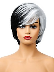 cheap -Short Straight Synthetic Wigs 11 Inch Natural Mix Color Wig black / white Right-Side Bang For African American Women Wig
