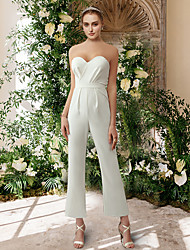 cheap -Jumpsuits Wedding Dresses Sweetheart Neckline Ankle Length Satin Sleeveless Simple Sexy with Pleats 2021