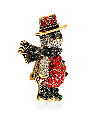 cheap -Brooches 3D Christmas Bear Fashion Gold Plated Brooch Jewelry Rainbow For Christmas Gifts Halloween Dress Party & Evening New Year