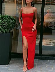 cheap -Sheath / Column Sexy bodycon Holiday Party Wear Dress Spaghetti Strap Sleeveless Ankle Length Spandex with Split 2021
