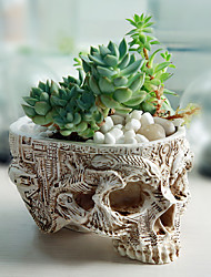 cheap -Skeleton Head Design Resin Succulent Plant Flower Pot Planter Container Large Flowerpot Halloween Props Treat Container for Home Office Desk Decoration