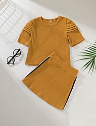 cheap -Kids Girls' T-shirt & Skirt 2 Pieces Short Sleeve Ginger Striped Solid Color Cotton Fashion