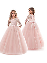 cheap -Kids Little Girls' Dress Floral Lace Flower Princess Solid Colored Party Wedding Evening Solid Colored Pegeant Bow White Purple Red Maxi Dresses