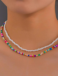 cheap -Pearl Bead Necklace Set Classic Friends Natural Rustic European Sweet Imitation Pearl Rainbow 40 cm Necklace Jewelry 1pc For Halloween Street Masquerade Birthday Party Beach