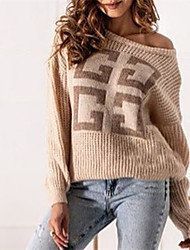 cheap -Women's Pullover Sweater Modern Style Geometic Active Casual Long Sleeve Loose Sweater Cardigans Wide collar Fall Winter Mei Hong Blushing Pink khaki / Holiday