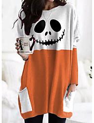 cheap -Women's Halloween Abstract Painting T shirt Plaid Color Block Pumpkin Long Sleeve Pocket Print Round Neck Basic Halloween Tops Wine Gray Orange / 3D Print