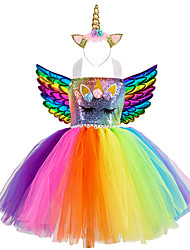 cheap -Kids Little Girls' Dress 3 Pcs Unicorn Rainbow Patchwork Birthday Party Sequins Lace up Patchwork Colorful Blue Gold Knee-length Sleeveless Active Costumes Cute Dresses Easter Regular Fit 3-10 Years