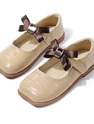 cheap -Girls' Flats Flower Girl Shoes Princess Shoes School Shoes Leather Nappa Leather Portable Non Slip Wedding Dress Shoes Little Kids(4-7ys) Daily Party & Evening Walking Shoes Bowknot Camel Almond Black