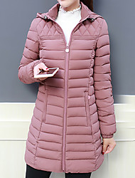 cheap -Women's Down Casual Daily Fall Winter Long Coat Stand Collar Regular Fit Warm Casual Jacket Long Sleeve Solid Color Quilted caramel colour Second Red Blushing Pink