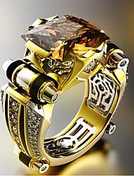 cheap -Rich Long Men's Band Ring Geometrical Black Zircon Copper Gold Plated Precious Fashion Vintage