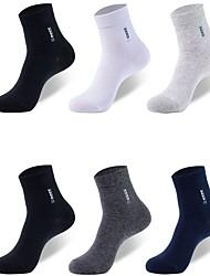 cheap -Comfort Men's Socks Solid Colored Socks Medium Casual Multi color 6 Pairs