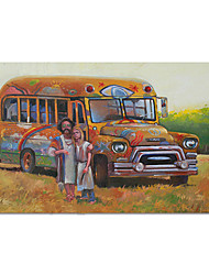 cheap -Oil Painting Handmade Hand Painted Wall Art Impression Still Life School Bus Home Decoration Decor Stretched Frame Ready to Hang