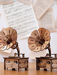 cheap -Retro Wooden Phonograph MUSIC BOX ORNAMENT Music Box Birthday Gift