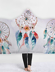 cheap -New Style Hooded Wool Thick Double Layer Plush 3d Digital Printing Children's Blanket Dream Catcher Watercolor Series