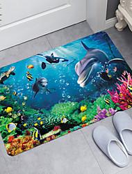 cheap -Coral Dolphin Series Digital Printing Floor Mat Modern Bath Mats Nonwoven / Memory Foam Novelty Bathroom