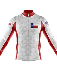 cheap -21Grams Men's Long Sleeve Cycling Jersey Spandex Red / White Blue+White American / USA Bike Top Mountain Bike MTB Road Bike Cycling Quick Dry Moisture Wicking Sports Clothing Apparel / Stretchy