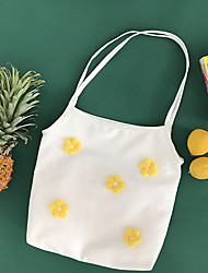 cheap -Canvas Shoulder storage bag back to school Halloween goody bag cute flowers portable grocery shopping cloth book tote   3*8*37 cm