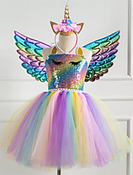 cheap -Kids Little Girls' Dress 3pcs Unicorn Princess Rainbow Colorful Party Tutu Birthday Dresses With Wing and Headband Sequins Halter Purple Gold Silver Cute Dresses 2-8 Years