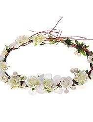 cheap -Bride Paper Rope Wreath Headdress Hair Hoop Simulation Rose Hair Band Bridesmaid Wedding Accessories